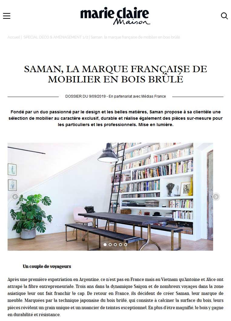 Marie Claire Maison - Maison Saman meuble en bois brule sur mesure