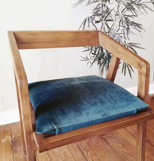 coussin assise fauteuil teck sur mesure velours vert