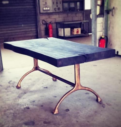 plateau de table bois brule noir shou sugi ban sur mesure