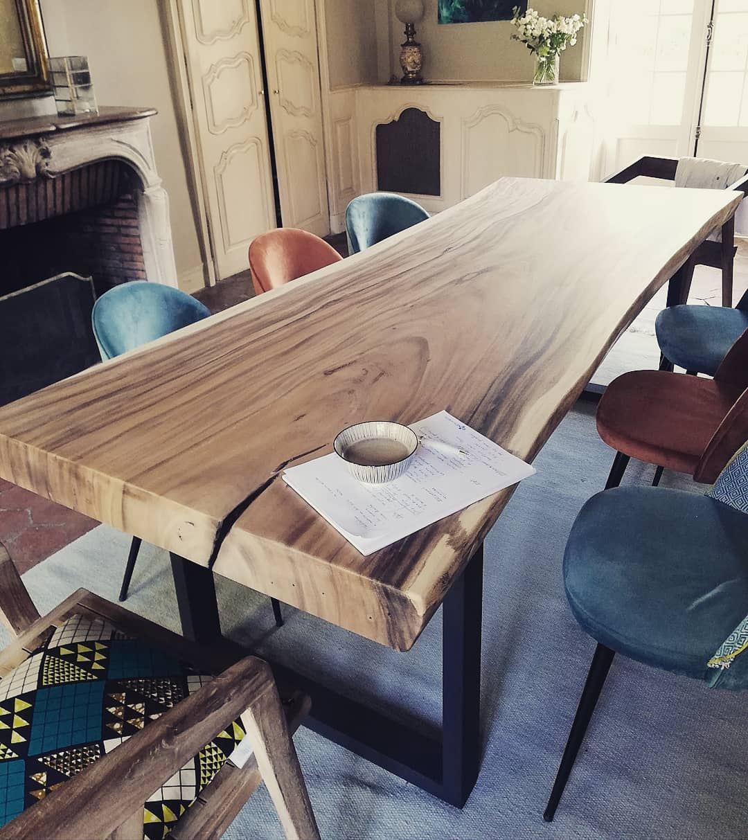 plateau de table suar pieds acier