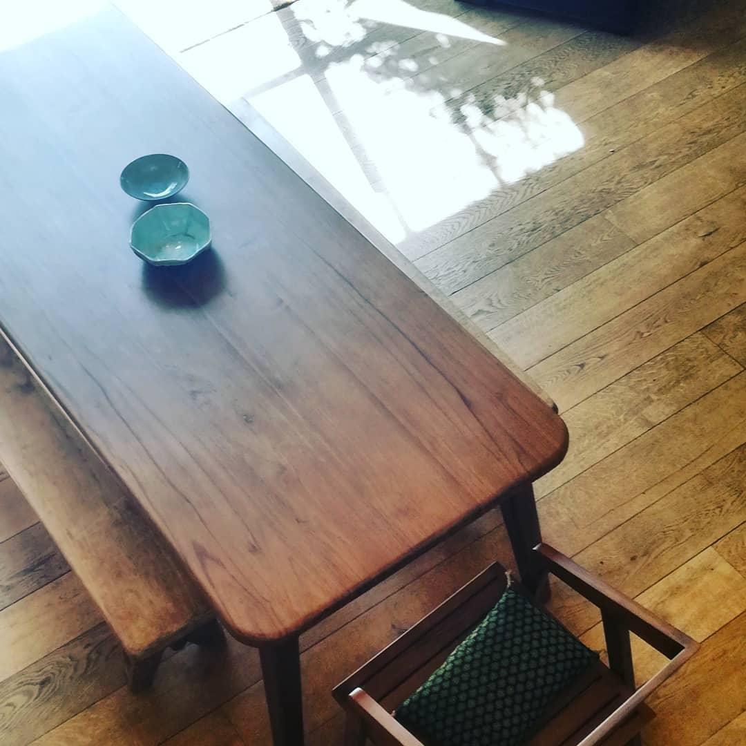 plateau de table paulette teck massif