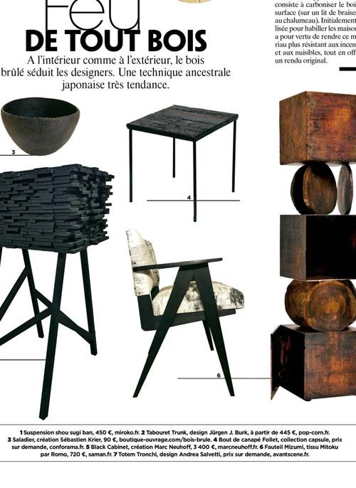 Gala janvier 2020 bois brulé fauteuil mizumi maison saman