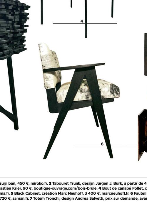 Gala janvier 2020 bois brulé fauteuil mizumi maison saman zoom