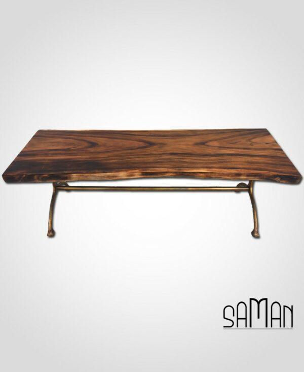 Table repas slab suar live edge bois massif brule shou sugi ban pied fonte doree tronc d'arbre