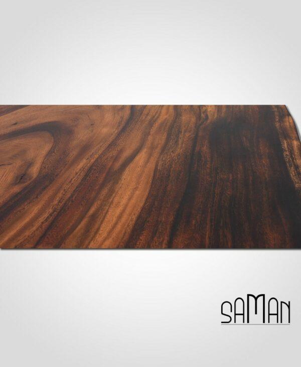Table à manger slab suar live edge bois massif brule shou sugi ban pied fonte doree tronc d'arbre