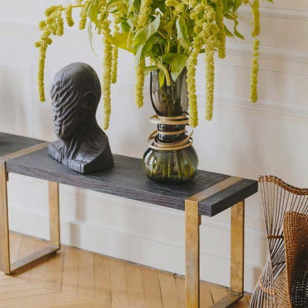 Banc teck massif bois brule noir shou sugi ban pied metal patine dore design vintage