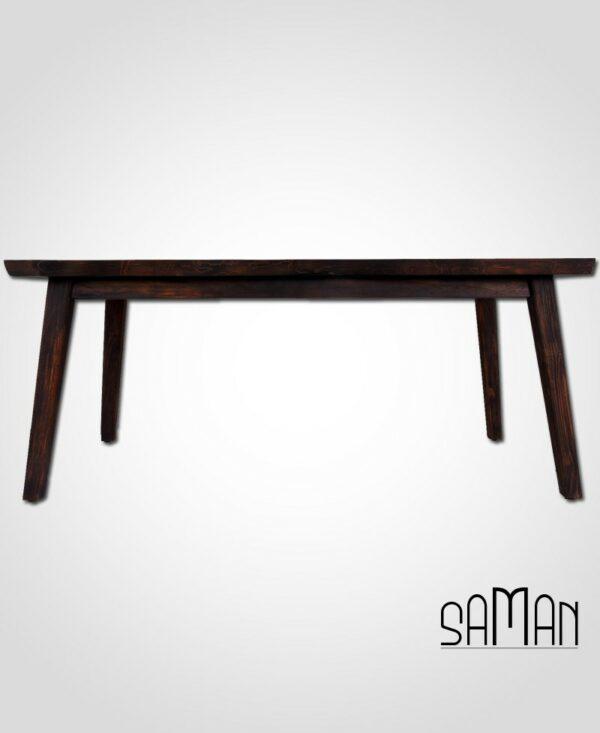 Table à manger en teck massif bois brûlé shou sugi ban live edge