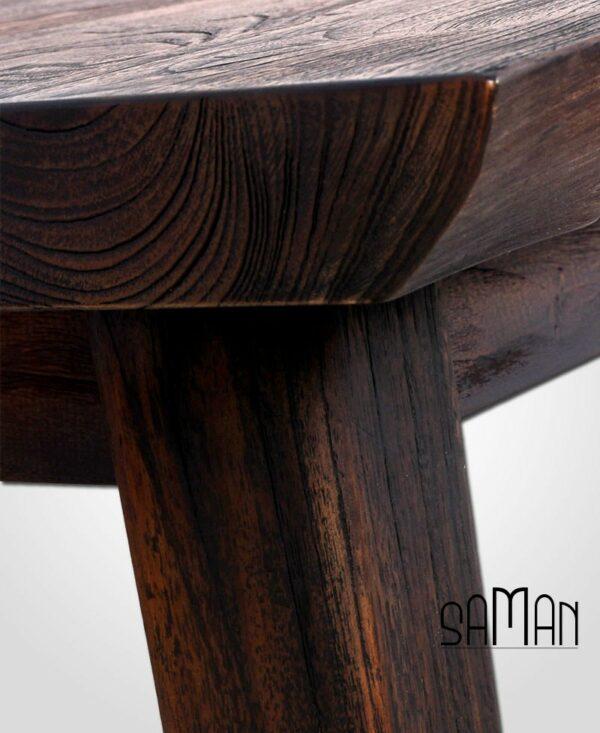 Zoom table à manger en teck massif bois brûlé shou sugi ban live edge