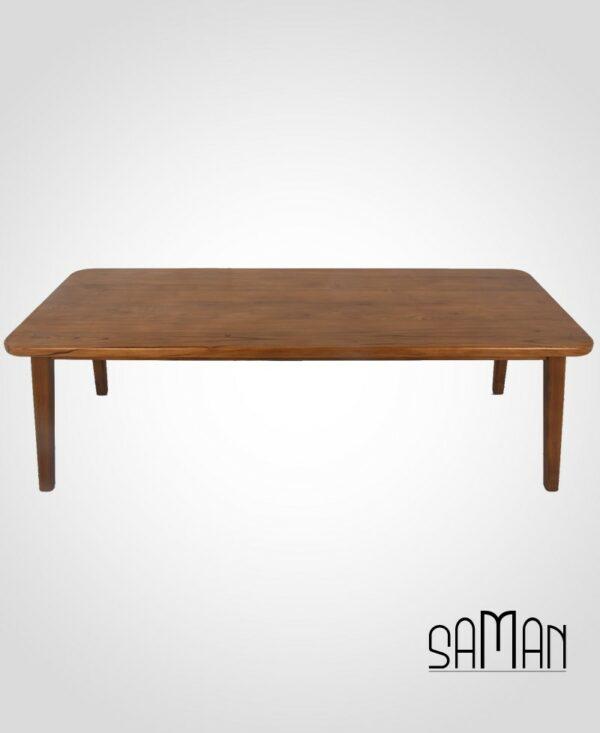 Table de salon de jardin en teck massif intérieur extérieur, design scandinave épuré