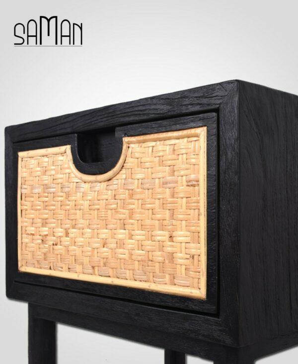 table de chevet noire bois brule et rotin naturel