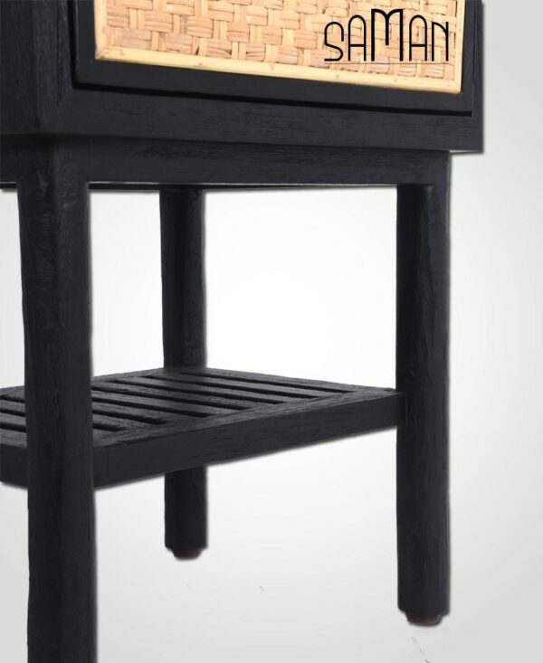 table de chevet bois massif shou sugi ban noir rotin naturel 1 tiroir