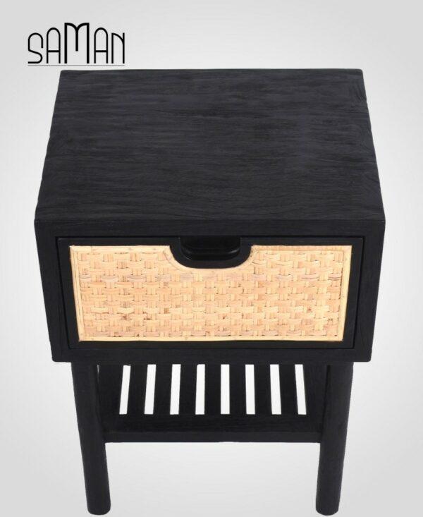 Table de chevet bois massif noire et rotin naturel noir et blanc