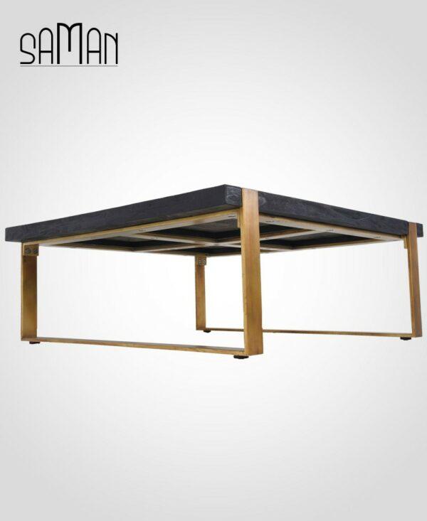 table basse bois brûlé noir et pieds patinés dorés teck massif design japonais