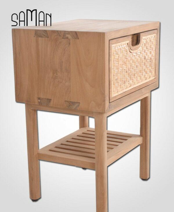 table de chevet tiroir bois clair teck design japandi rotin naturel