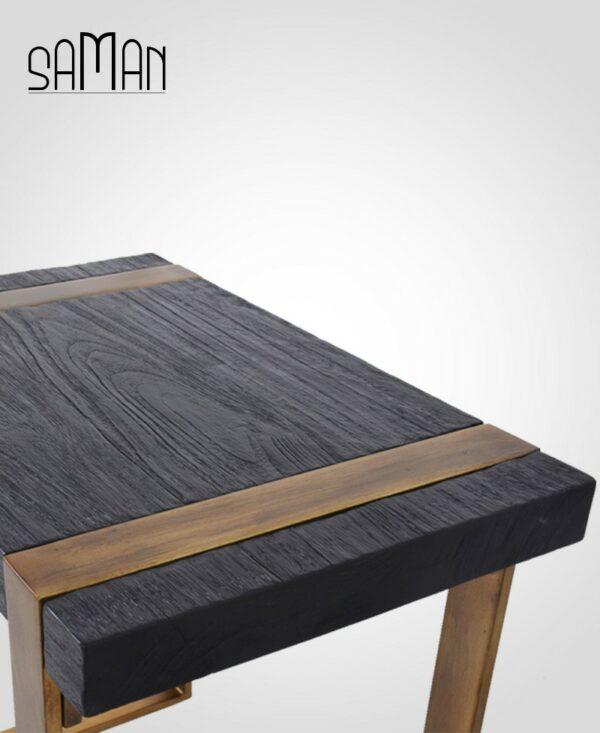Bout de canape teck massif bois brule noir shou sugi ban pied metal patine dore vintage