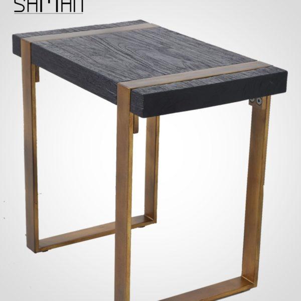 Bout de canapé teck massif bois brule noir shou sugi ban pied metal patine dore design vintage