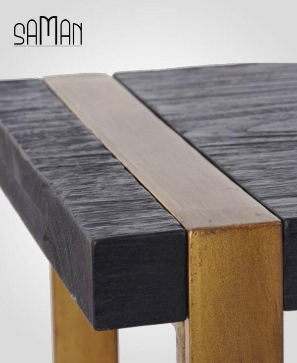 Zoom bout de canape teck massif bois brule noir shou sugi ban pied metal patine dore design vintage