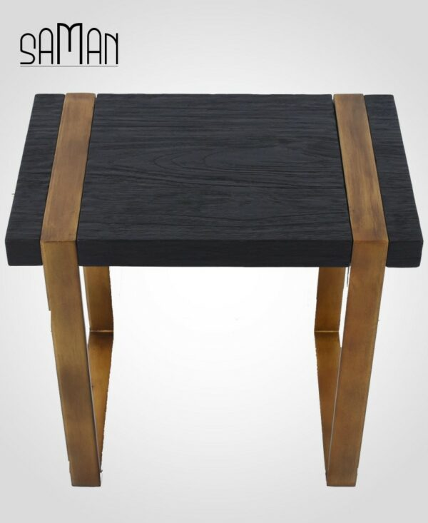 Table d'appoint teck massif bois brule noir shou sugi ban pied metal patine dore vintage