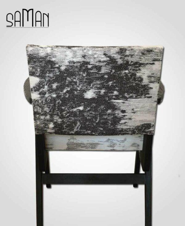 Fauteuil Mizumi Maison Saman bois brulé noir shou sugiban tissu romo