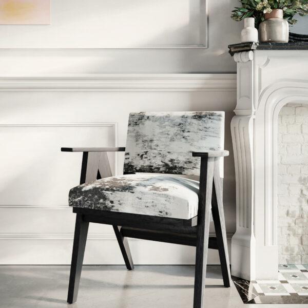 fauteuil-mizumi-vintage-bois-brûlé-yakisugi-shou-sugi-ban-bois-massif-design-1950-noir-et-blanc-épuré
