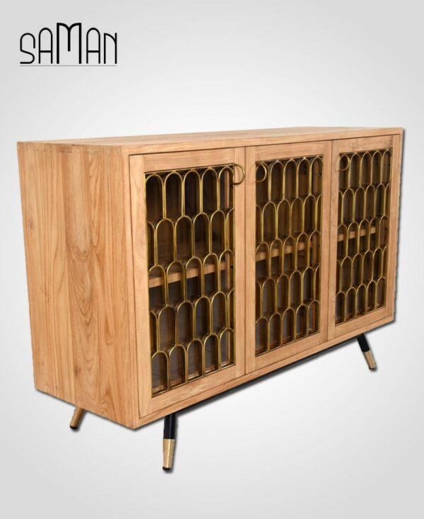 buffet art deco bois de teck massif et ferronerie Maison Saman