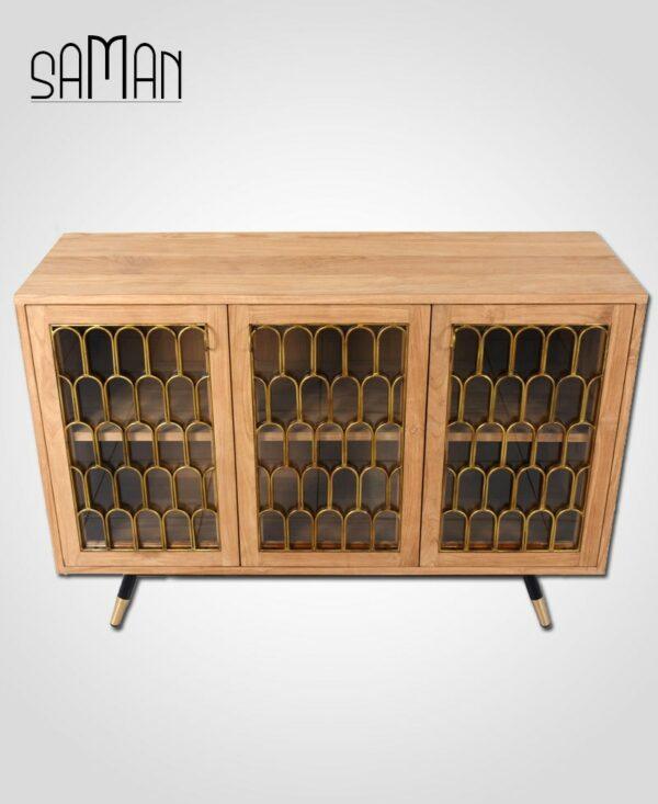 buffet trois portes art deco bois de teck massif et ferronerie Maison Saman