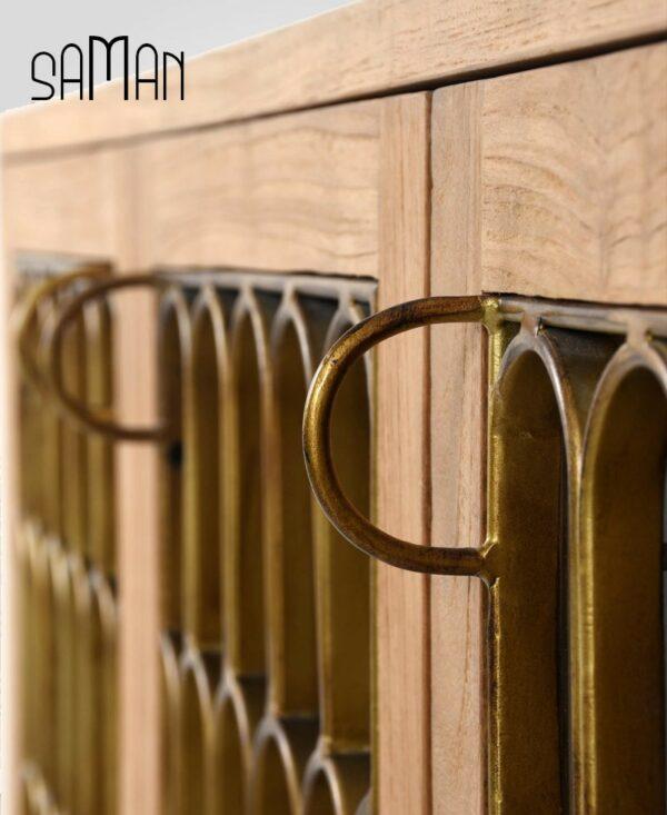 buffet art deco bois de teck massif et métal Maison Saman