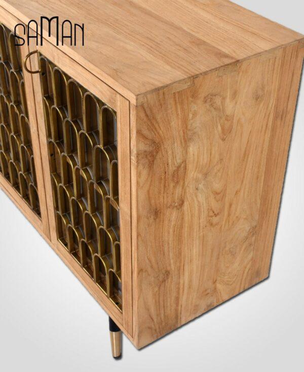buffet art deco 3 portes bois de teck clair massif naturel et métal