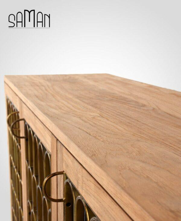 buffet trois portes art deco bois de teck massif et métal