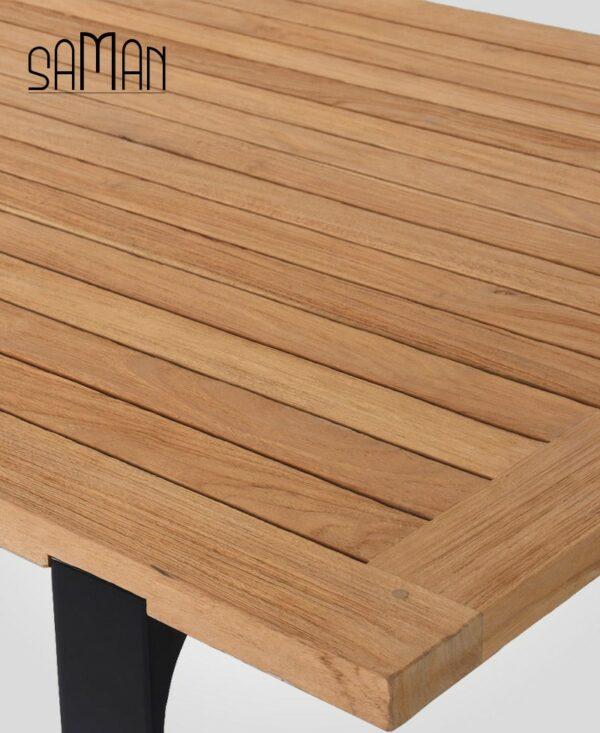 Table de jardin teck massif teinte naturelle design fer plat acier noir - 6 personnes 8 personnes - 160cm