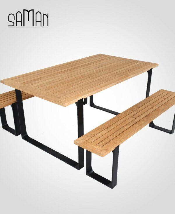 banc et table exterieur de jardin teck massif naturel huile acier noir 160cm 3 personnes