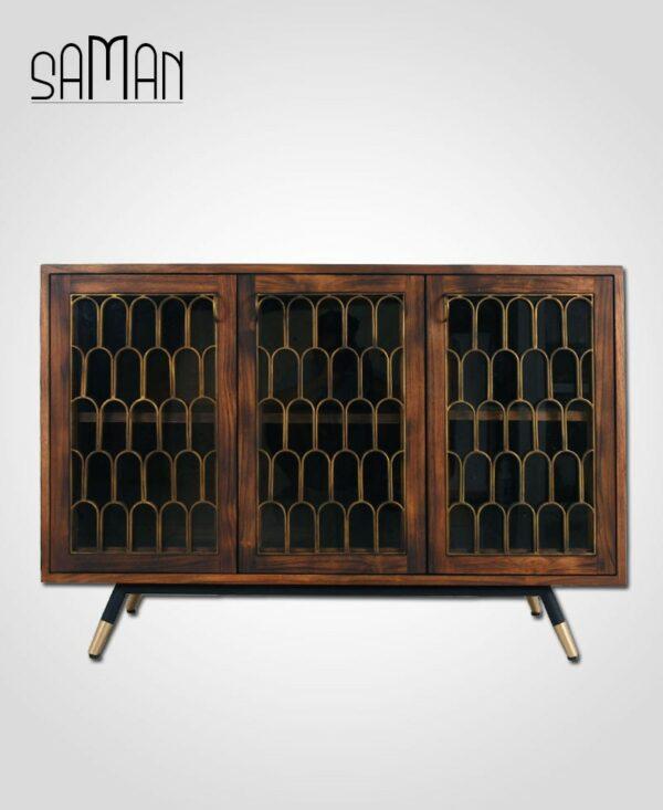 Buffet trois portes style art deco bois brule teck massif
