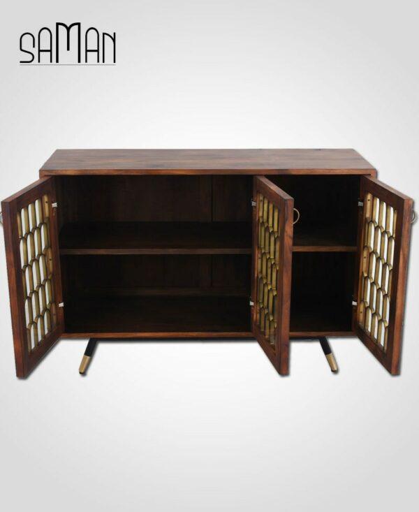 Buffet design trois portes inspiration art déco bois brule metal dore teck massif