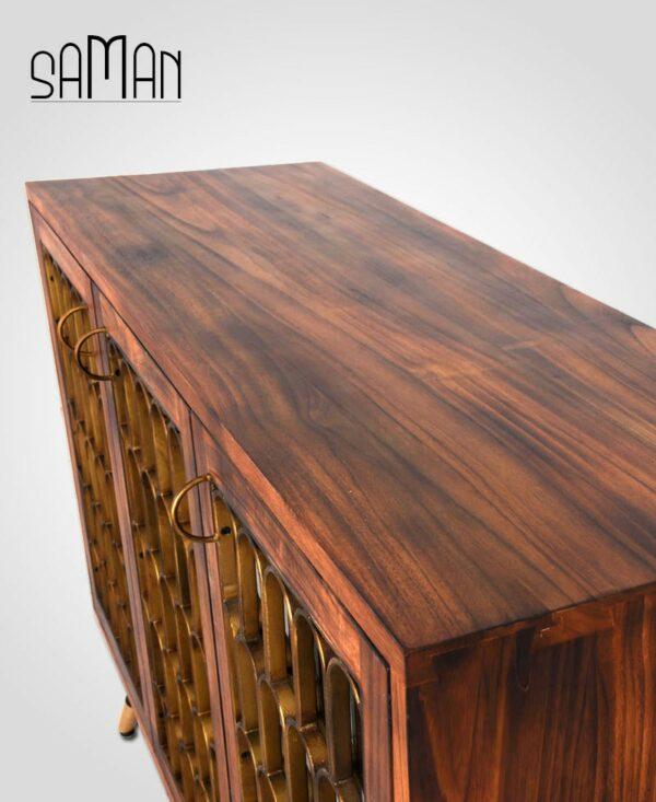 Buffet trois portes design art déco bois brule metal dore teck massif