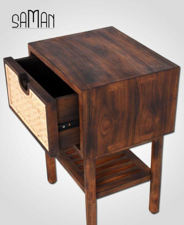 Table de chevet bois massif marron et rotin naturel clair