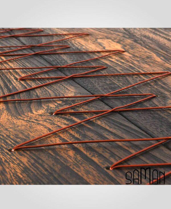 Table de salon laçage fil de cuivre, teck brulé et pieds acier thermolaqué