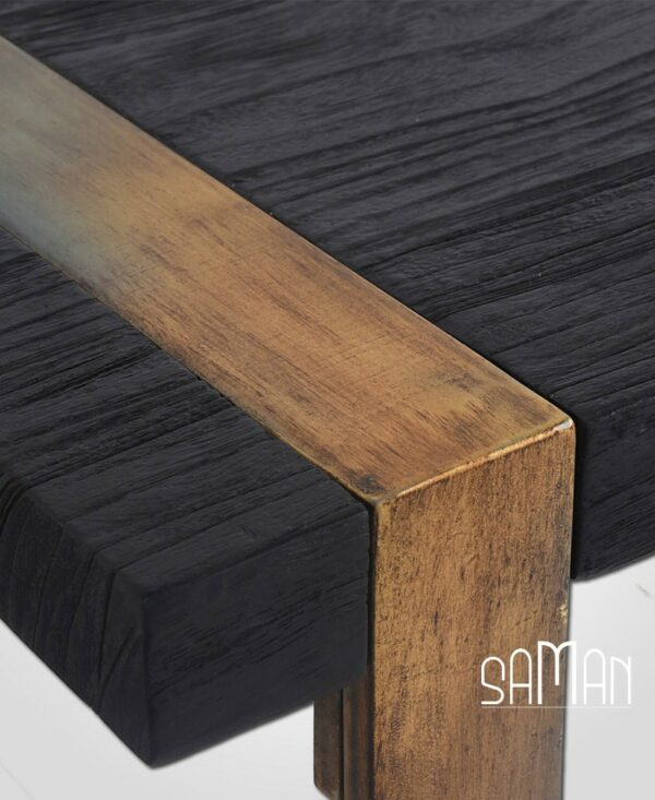 Zoom banc teck massif bois brule noir shou sugi ban pied metal patine dore design vintage