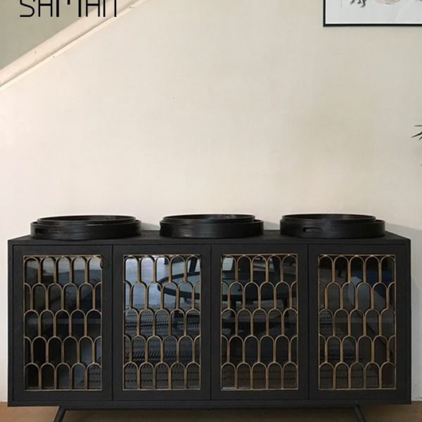 buffet style art deco en teck massif finition bois brule shou sugi ban