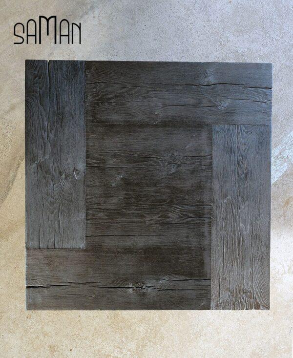 Table basse en poutre de chene massif brulé noir yakisugi style bauhaus