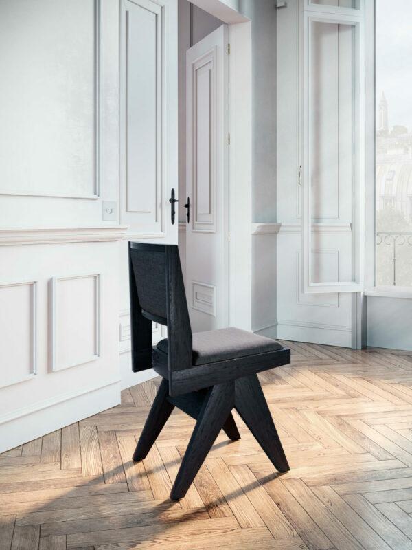 chaise-de-table-fauteuil-bureau-vintage-pieds-compas-bois-brûlé-shou-sugi-ban-yakisugi-1950-design-tissu-gris