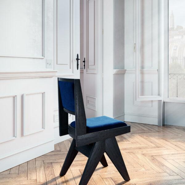 chaise-de-table-fauteuil-bureau-vintage-pieds-compas-bois-brûlé-shou-sugi-ban-yakisugi-1950-design-tissu-velours-bleu
