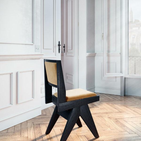 chaise-de-table-fauteuil-bureau-vintage-pieds-compas-bois-brûlé-shou-sugi-ban-yakisugi-1950-design-tissu-velours-moutarde